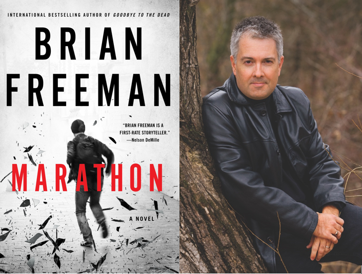 Book cover of Marathon by Brian Freeman on the left (black and white image of a man with a backpack running away with shards around him) and portrait of the author on the right (white man with gray hair wearing black leather jacket leaning against a tree)